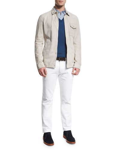 Ermenegildo Zegna Suede Button-Down Shirt Jacket,