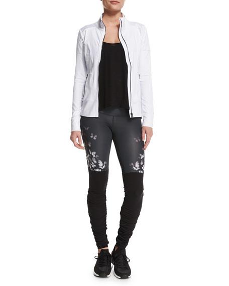 Alo Yoga Full-Zip Moto Sport Jacket, White/Glossy