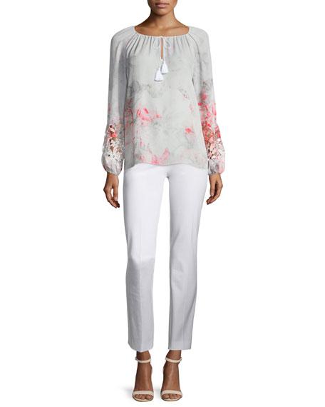 Elie Tahari Mariella Long-Sleeve Lace-Inset Blouse, Neon Orchid