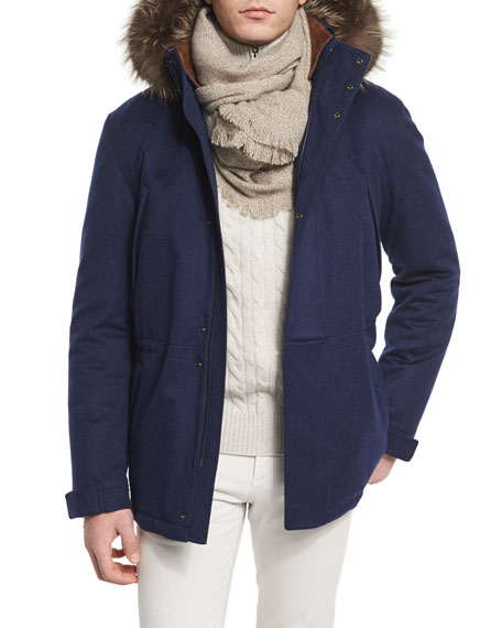Loro Piana Icer Cashmere Storm Jacket with Fur-Trimmed