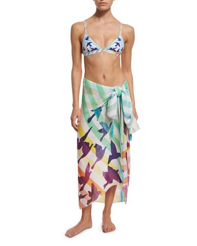 Prismatic Printed Sarong Coverup, Triangle-Cup Swim Top & Classic Swim Bottom