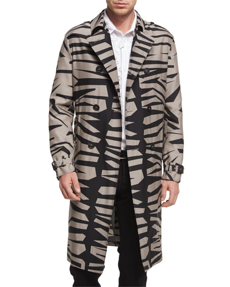 Burberry Prorsum Zebra-Print Silk-Blend Long Trench Coat, Taupe