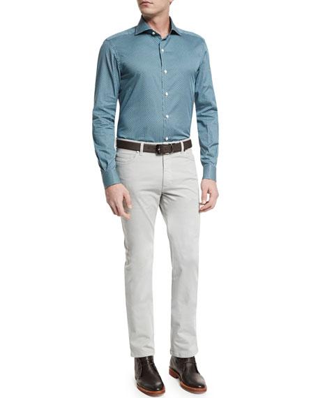 Ermenegildo Zegna Geo-Print Long-Sleeve Sport Shirt, Teal