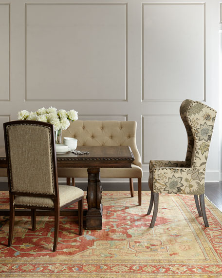 Floral Caramel Wing Chair