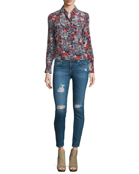 AG Sutton Long-Sleeve Floral-Print Shirt, Efflorescent Silk