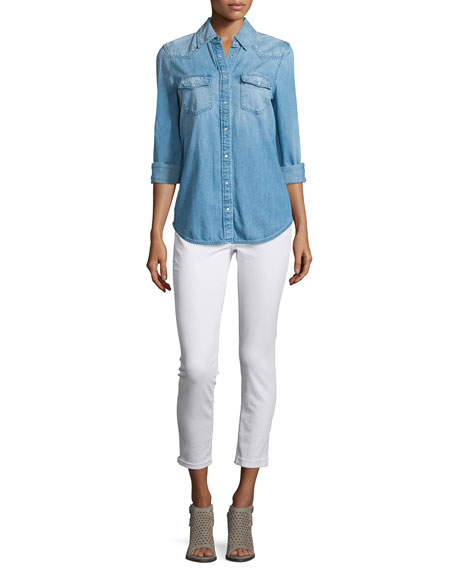AG Adriano Goldschmied Sutton Embroidered Chambray Shirt