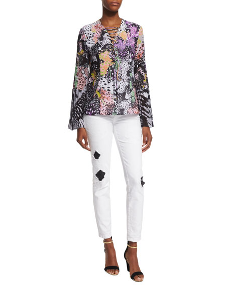 Just Cavalli Ripped/Repaired Skinny Jeans, White
