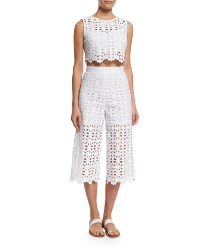 Ruby Crocheted-Lace Crop Top & Dana Crocheted-Lace Cropped Pants