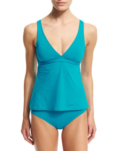 Strappy-Back Tankini Top & Classic Hipster Swim Bottom, Peacock