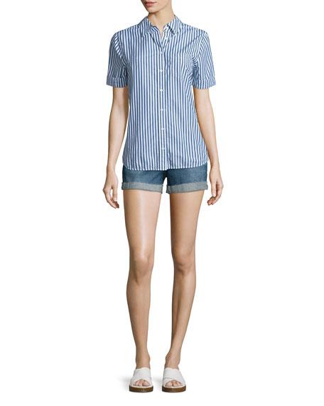 AG Easton Short-Sleeve Striped Shirt, Westward Striped