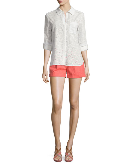 Diane von Furstenberg Lorelei Two Cotton Eyelet Top,