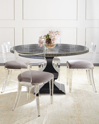 Vivian Inlay Dining Table & Nessy Acrylic Dining Chair