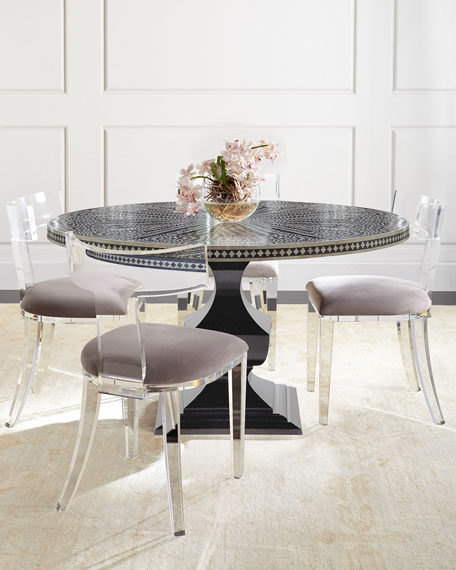 Lucite Dining Room Table: Bernhardt Vivian Inlay Dining Table & Nessy Acrylic Dining
