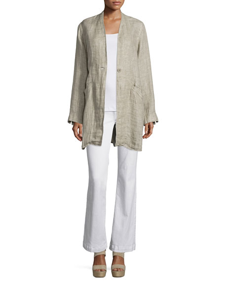 Eileen FisherOrganic Linen One-Button Coat, Natural