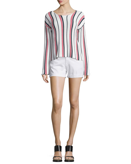 FRAME DENIM Le Cropped Long-Sleeve Striped Top, Vertical