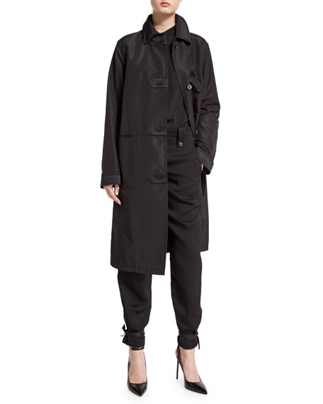 TOM FORD Long-Sleeve Knee-Length Duster Coat, Black