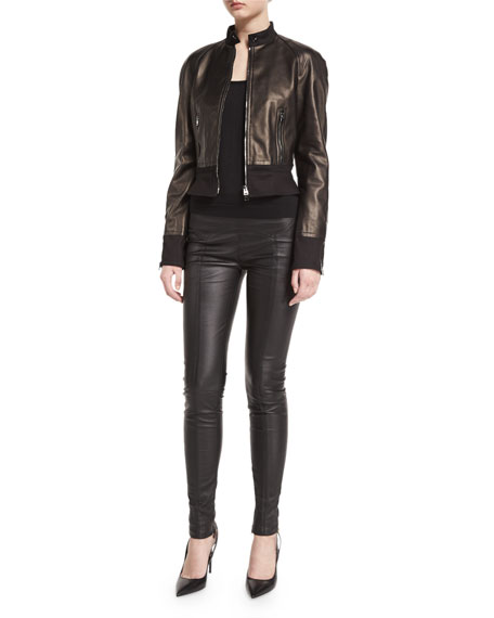 TOM FORDStand-Collar Zip-Front Leather Bomber Jacket, Black