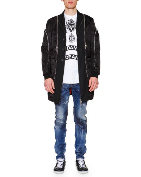 Dsquared2 Oversized Jacket W/Allover Zip Details, Black