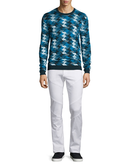 Versace Collection Geometric-Print Stitched Crewneck Sweater, Blue