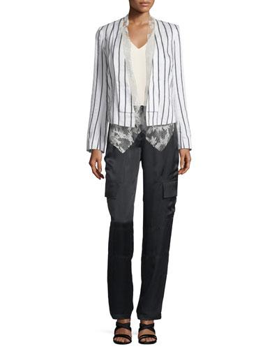 Foundrae Striped Linen-Blend Jacket w/ Lace Vest &