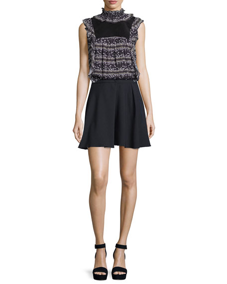 See by Chloe Sleeveless Floral Ruffle-Trim Top, Black