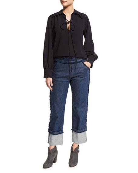 See by ChloeCuffed Raw-Edge Stretch Jeans, Dark Navy