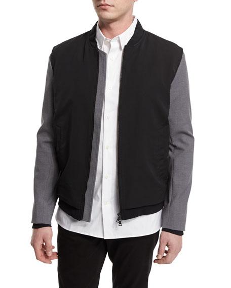 Vince Highline Mixed Media Varsity Bomber Jacket, Black
