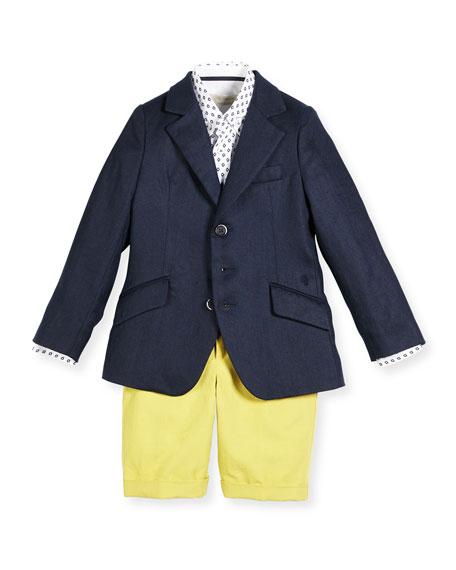 Pili Carrera Ramie-Blend Three-Button Blazer, Navy, Size 4-10