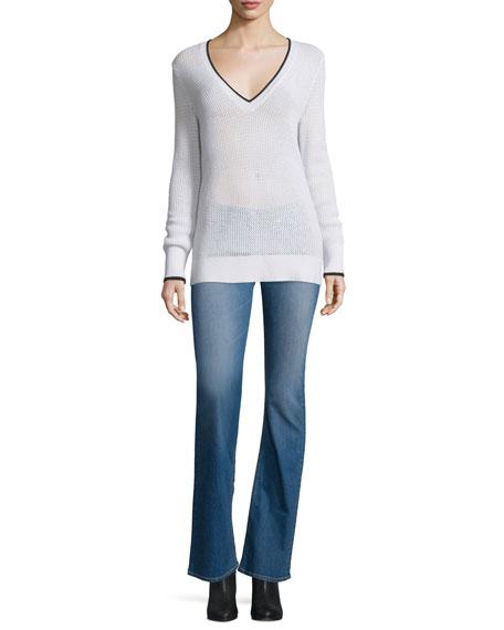 rag & bone/JEAN Maeve Contrast-Trim Sweater, White