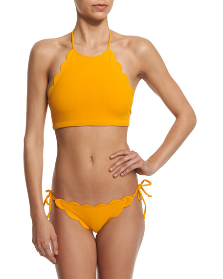 Marysia Mott Scalloped High-Neck Halter Swim Top, Papaya
