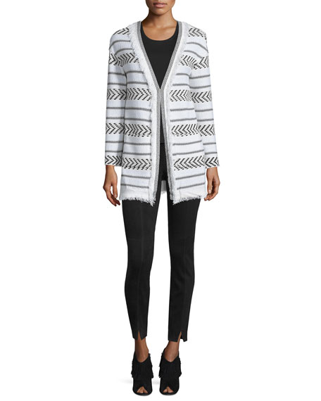 St. John Collection Darya Fringe Knit Cardigan, Cream/Caviar
