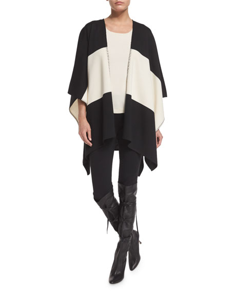 St. John Collection Milano Knit Striped Wrap, Caviar/Multi
