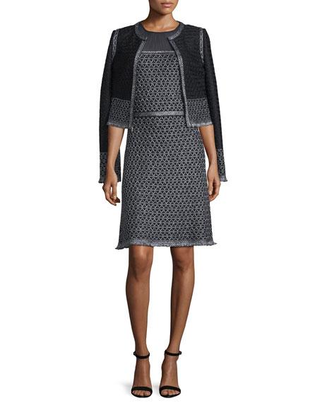 St. John Collection Shimmer Knit Jacket w/ Fringe,