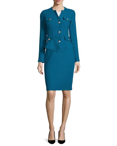 St. John CollectionTextural Twill Knit Jacket, Baltic Blue