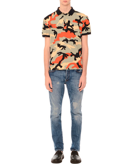 Valentino Camo-Print Short-Sleeve Polo Shirt, Multicolor