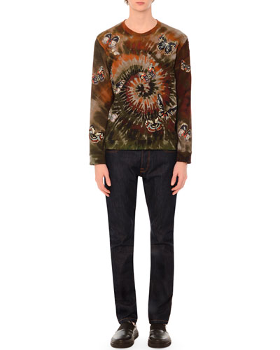 Butterfly-Embroidered Long-Sleeve Tie-Dye T-Shirt & Five-Pocket Clean-Wash Denim Jeans with Rockstud Detail