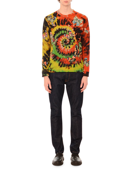 Valentino Butterfly-Embroidered Long-Sleeve Tie-Dye T-Shirt,