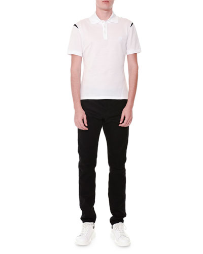 Short-Sleeve Logo Polo Shirt & Straight-Leg Coated Jeans