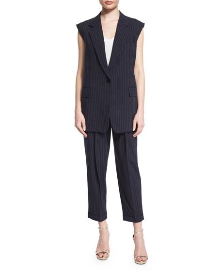 DKNYBonded Oversized Pinstripe Vest, Classic Navy