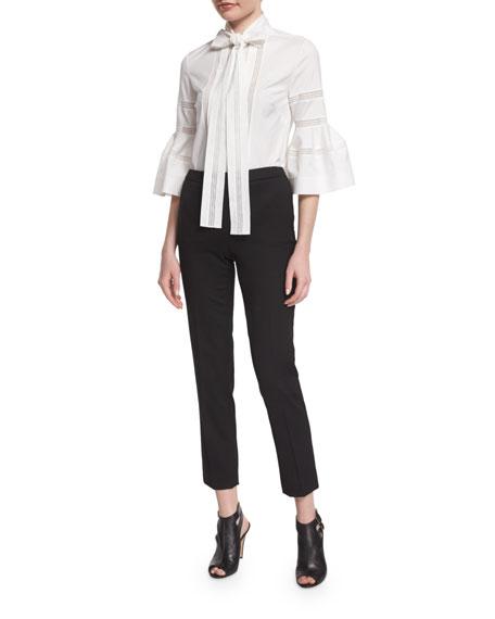 Carolina Herrera Bell-Sleeve Tie-Neck Cotton Blouse, White