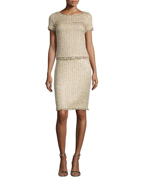 St. John Collection Raffia-Knit Short-Sleeve Top, Gold/Multi