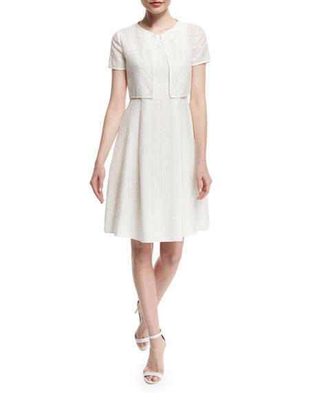 Armani Collezioni Short-Sleeve Lattice Burnout Bolero, White