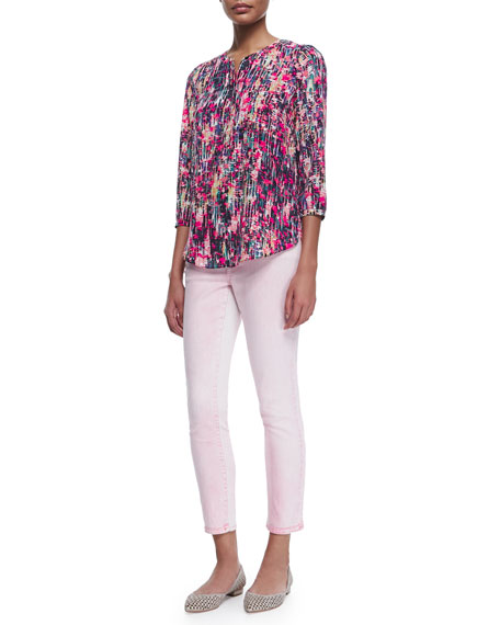 NYDJ 3/4-Sleeve Printed Pleated-Back Blouse, Spring Confetti