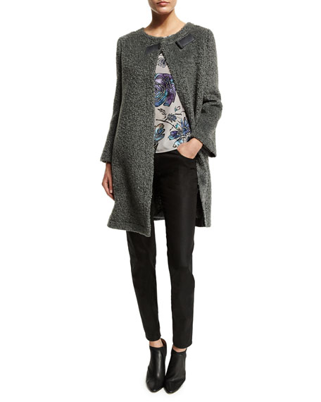 Armani Collezioni Long-Sleeve Boucle Trapeze Coat, Gray