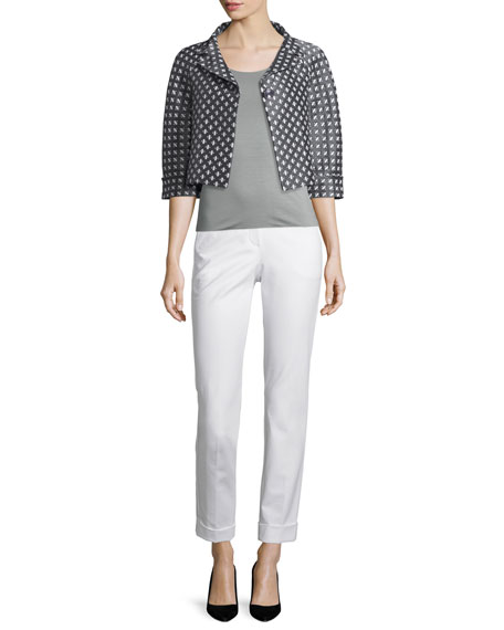 Armani Collezioni Diamond-Print One-Button Swing Jacket, Gray/Multi