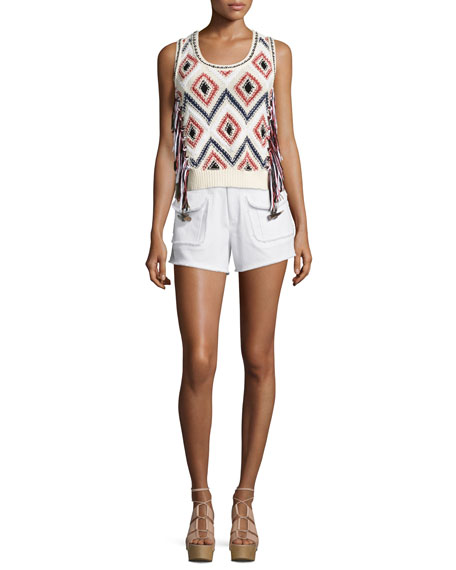 Derek Lam 10 Crosby Tassel-Front Sleeveless Knit Shell,