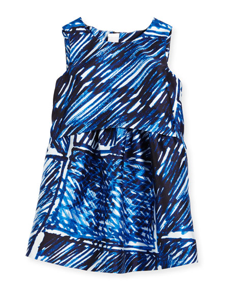 Milly Minis Sleeveless Scribble-Print Shift Dress, Blue, Size