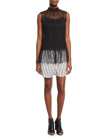 McQ Alexander McQueen Sleeveless Lace Ruffle Blouse, Black