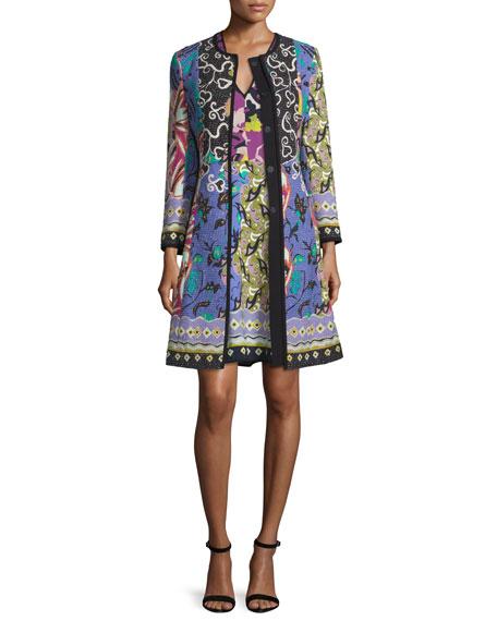 Etro Floral-Patchwork Topper Coat, Blue/Purple
