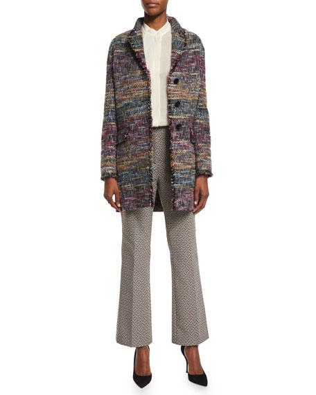 EtroThree-Button Fringe-Trim Topper Coat, Purple/Multi